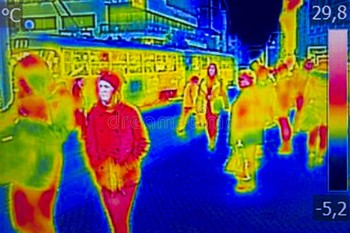 Infrared Thermal Image People Walking City Streets 81921640